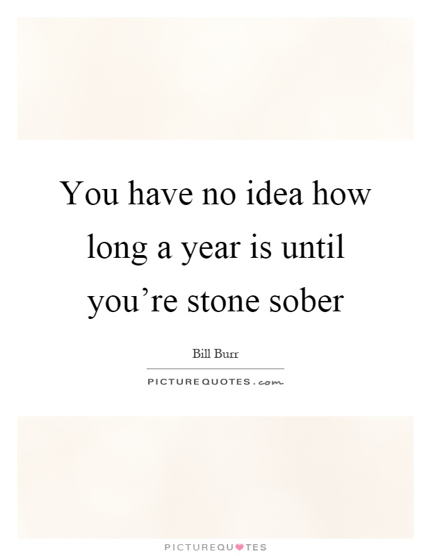 You have no idea how long a year is until you're stone sober Picture Quote #1