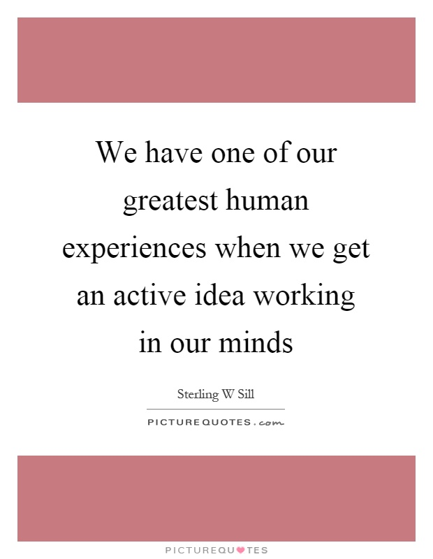 We have one of our greatest human experiences when we get an active idea working in our minds Picture Quote #1