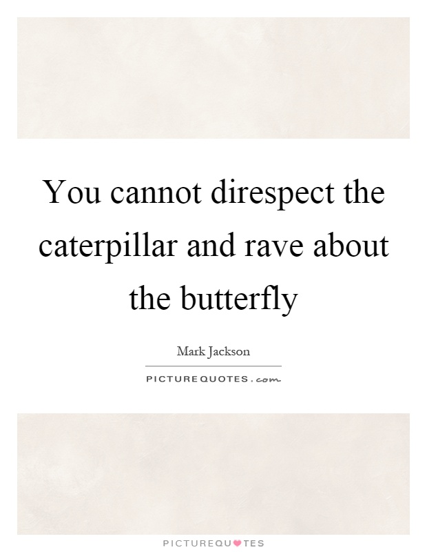 You cannot direspect the caterpillar and rave about the butterfly Picture Quote #1