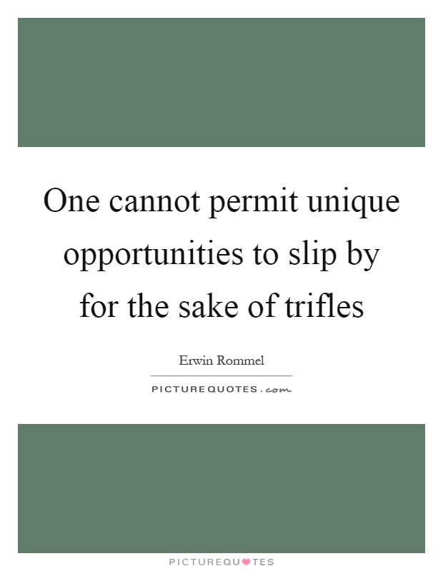 One cannot permit unique opportunities to slip by for the sake of trifles Picture Quote #1