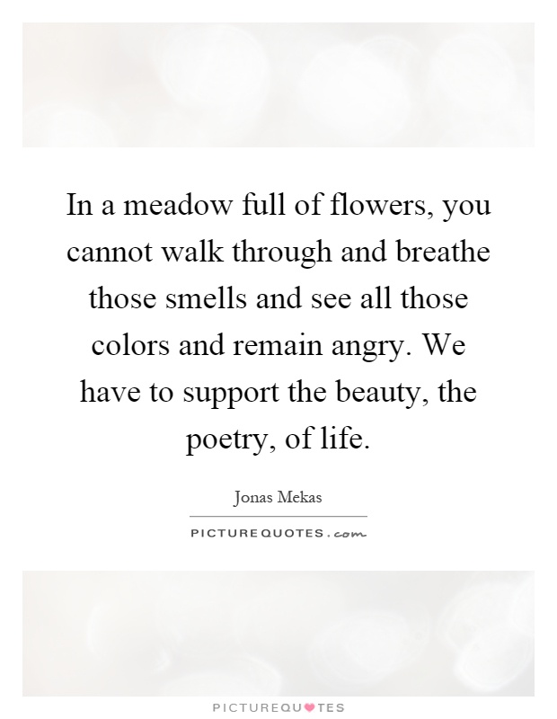 In a meadow full of flowers, you cannot walk through and breathe those smells and see all those colors and remain angry. We have to support the beauty, the poetry, of life Picture Quote #1