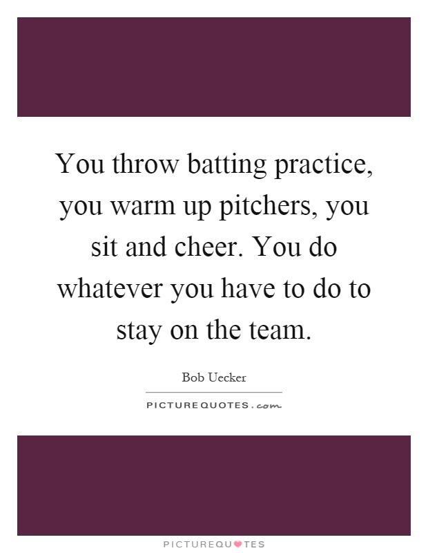 You throw batting practice, you warm up pitchers, you sit and cheer. You do whatever you have to do to stay on the team Picture Quote #1