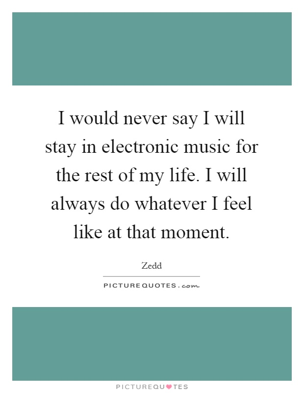 I would never say I will stay in electronic music for the rest of my life. I will always do whatever I feel like at that moment Picture Quote #1