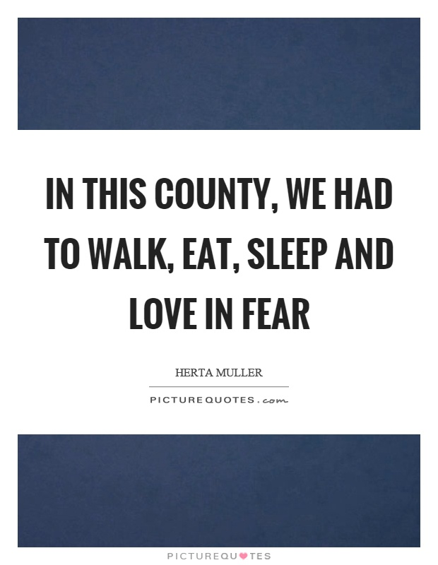 In this county, we had to walk, eat, sleep and love in fear Picture Quote #1