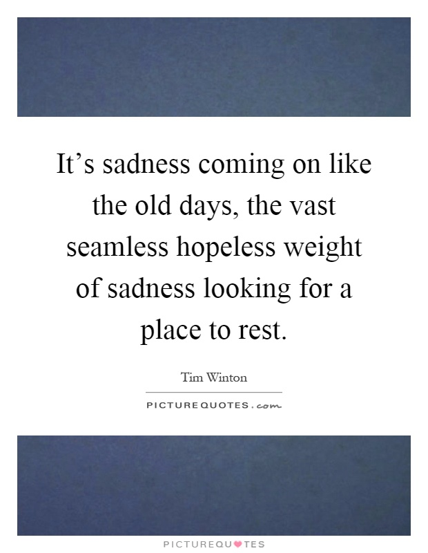 It's sadness coming on like the old days, the vast seamless hopeless weight of sadness looking for a place to rest Picture Quote #1