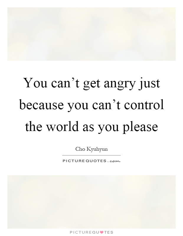 You can't get angry just because you can't control the world as you please Picture Quote #1