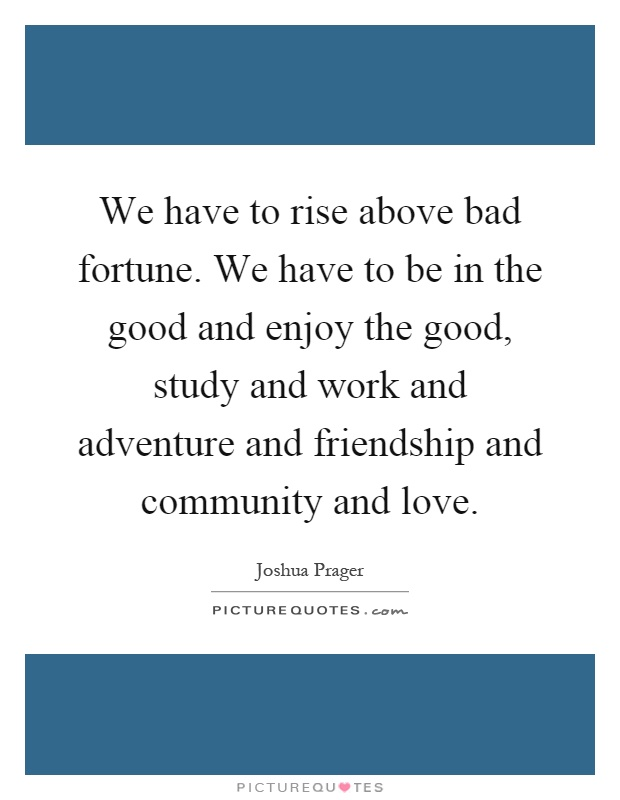We have to rise above bad fortune. We have to be in the good and enjoy the good, study and work and adventure and friendship and community and love Picture Quote #1