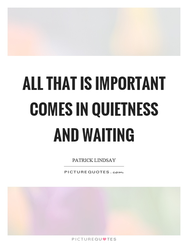 All that is important comes in quietness and waiting Picture Quote #1