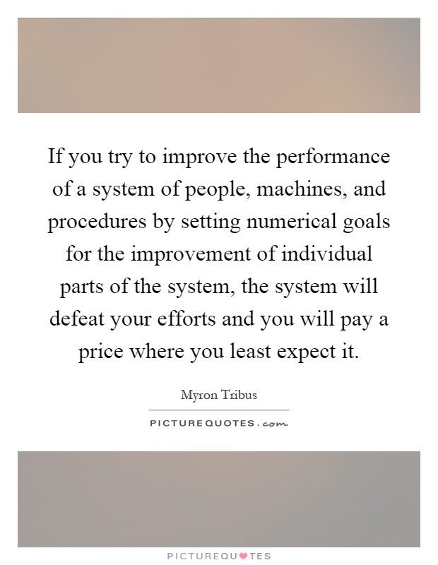 If you try to improve the performance of a system of people, machines, and procedures by setting numerical goals for the improvement of individual parts of the system, the system will defeat your efforts and you will pay a price where you least expect it Picture Quote #1