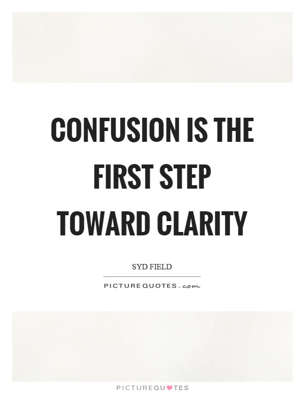 Confusion is the first step toward clarity Picture Quote #1
