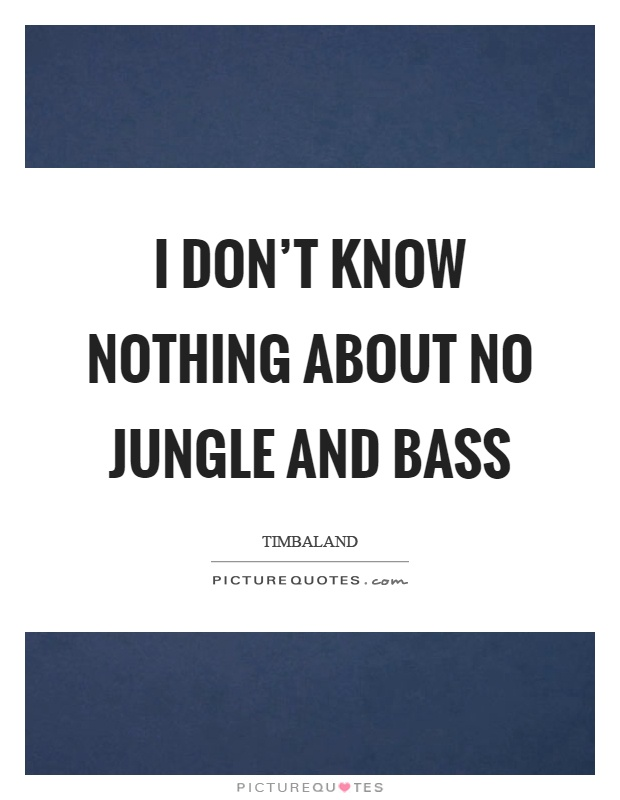 I don't know nothing about no jungle and bass Picture Quote #1