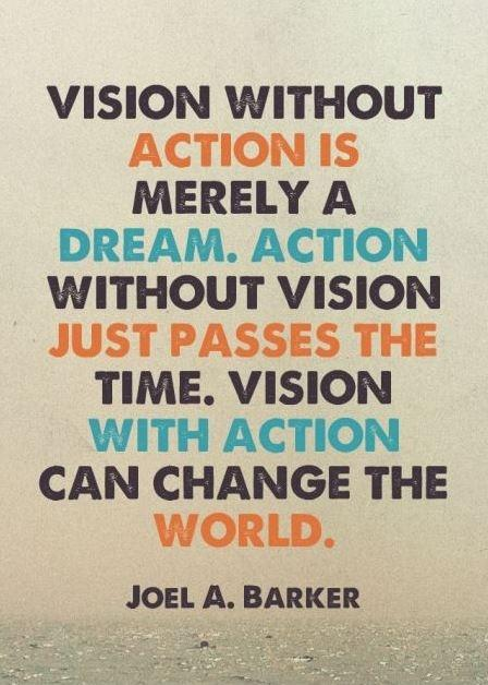 Vision without action is merely a dream. Action without vision just passes the time. Vision with action can change the world Picture Quote #1