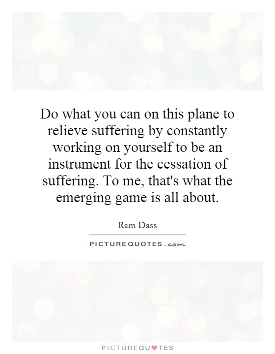 Do what you can on this plane to relieve suffering by constantly working on yourself to be an instrument for the cessation of suffering. To me, that's what the emerging game is all about Picture Quote #1