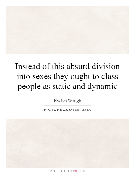Instead of this absurd division into sexes they ought to class people as static and dynamic Picture Quote #1
