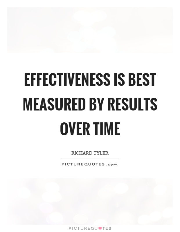 Effectiveness is best measured by results over time Picture Quote #1