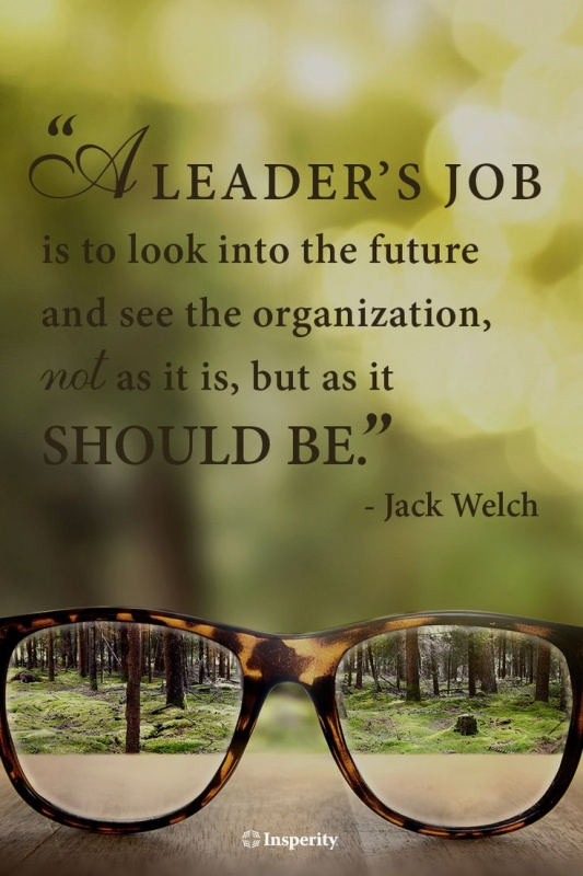 A leader's job is to look into the future and see the organization, not as it is, but as it should be Picture Quote #1
