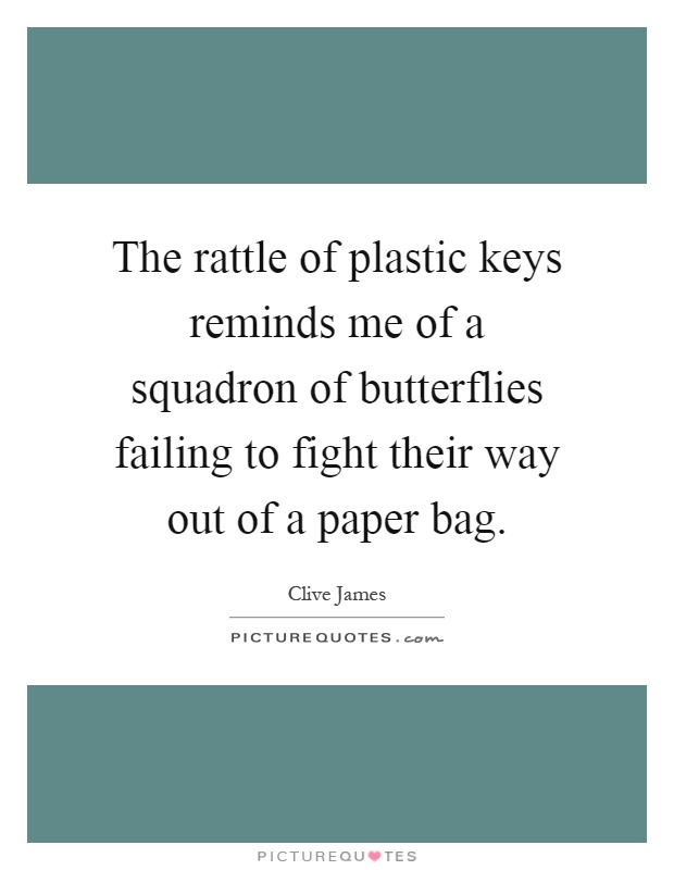 The rattle of plastic keys reminds me of a squadron of butterflies failing to fight their way out of a paper bag Picture Quote #1