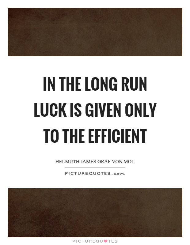 In the long run luck is given only to the efficient Picture Quote #1