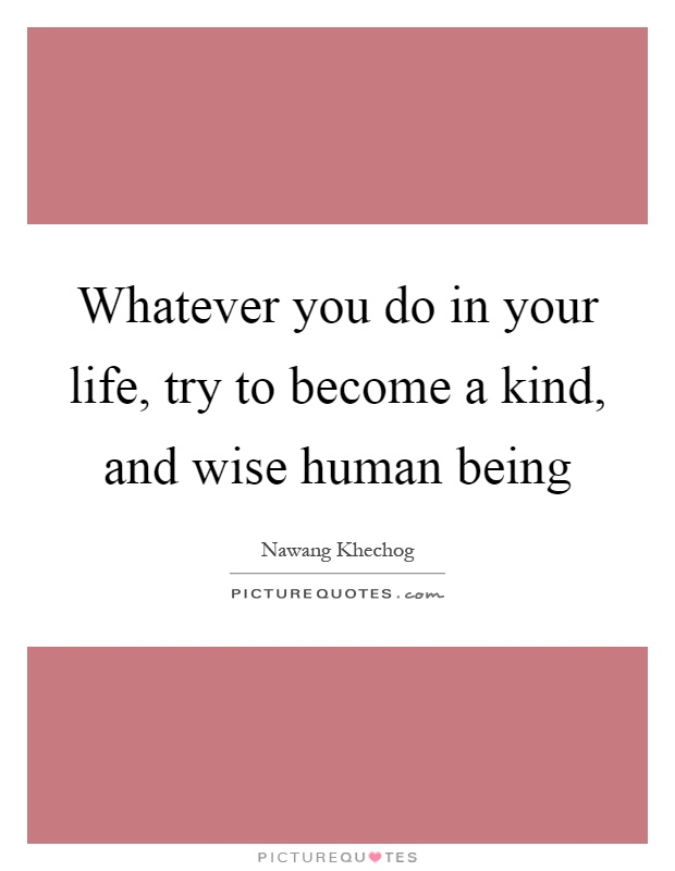 Whatever you do in your life, try to become a kind, and wise human being Picture Quote #1