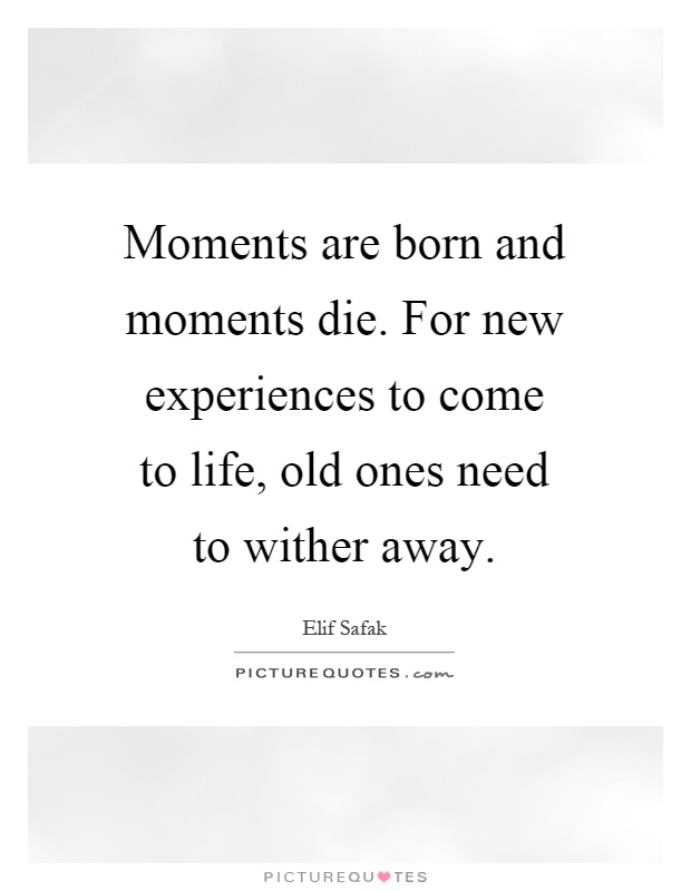 Moments are born and moments die. For new experiences to come to life, old ones need to wither away Picture Quote #1