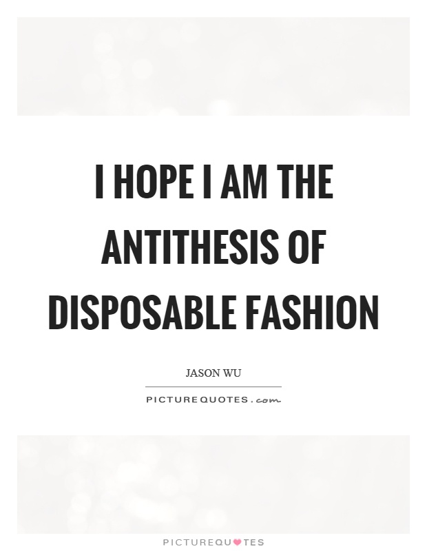 I hope I am the antithesis of disposable fashion Picture Quote #1