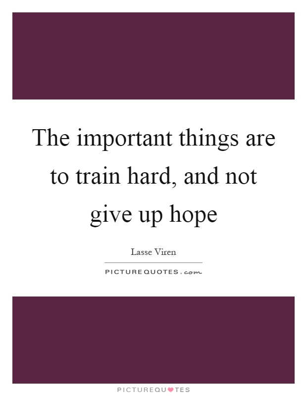 The important things are to train hard, and not give up hope Picture Quote #1