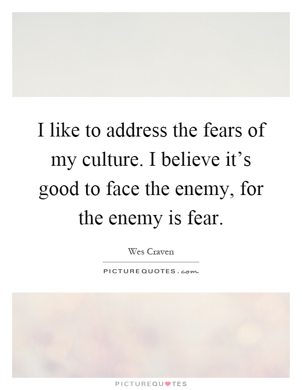 I like to address the fears of my culture. I believe it's good to face the enemy, for the enemy is fear Picture Quote #1