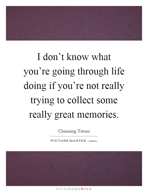 I don't know what you're going through life doing if you're not really trying to collect some really great memories Picture Quote #1