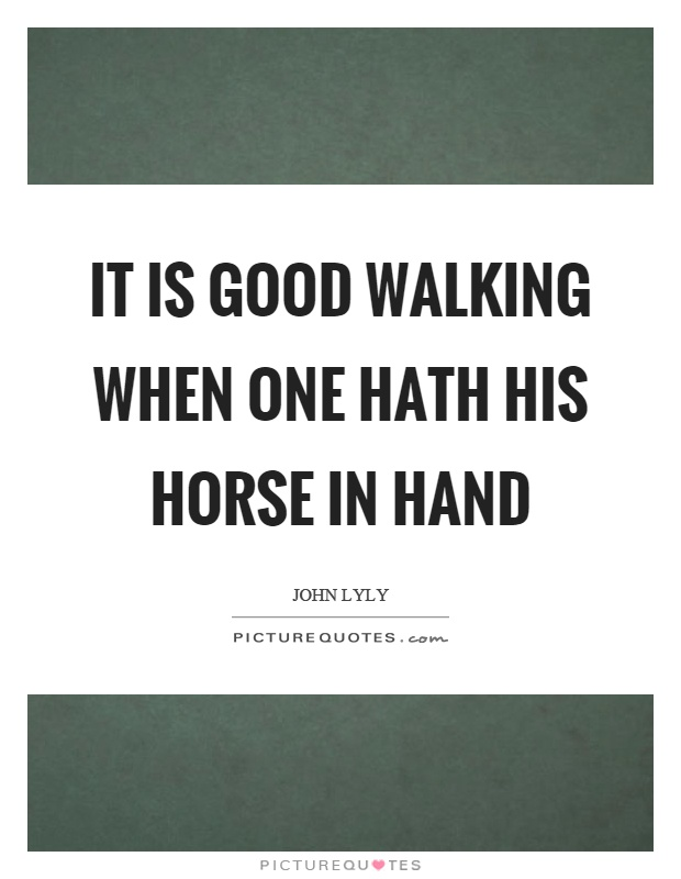 It is good walking when one hath his horse in hand Picture Quote #1