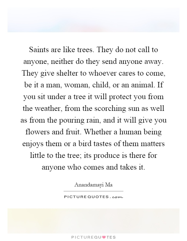 Saints are like trees. They do not call to anyone, neither do they send anyone away. They give shelter to whoever cares to come, be it a man, woman, child, or an animal. If you sit under a tree it will protect you from the weather, from the scorching sun as well as from the pouring rain, and it will give you flowers and fruit. Whether a human being enjoys them or a bird tastes of them matters little to the tree; its produce is there for anyone who comes and takes it Picture Quote #1