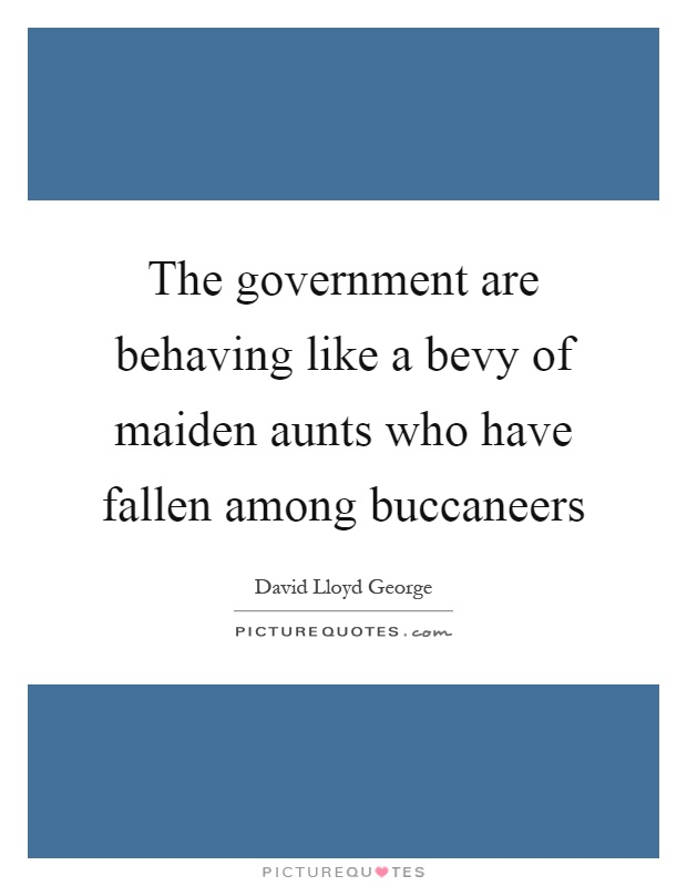 The government are behaving like a bevy of maiden aunts who have fallen among buccaneers Picture Quote #1