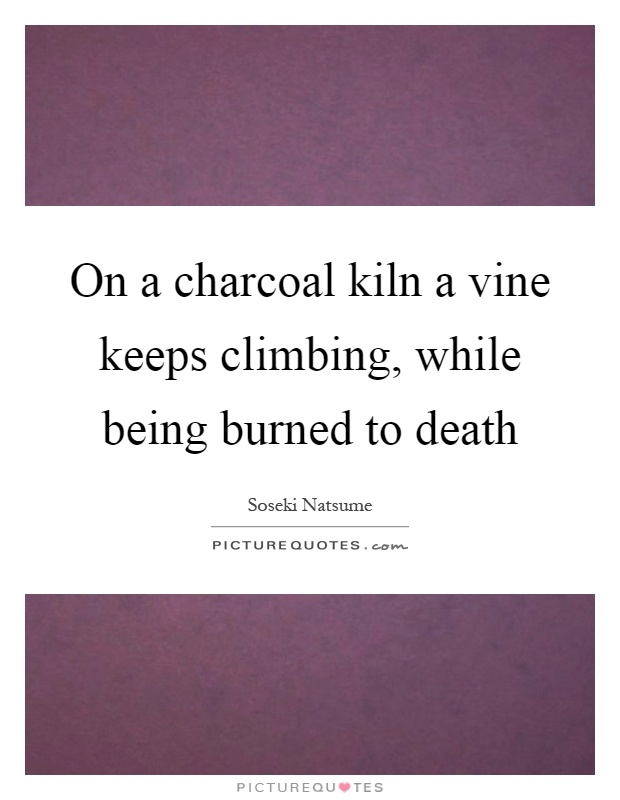 On a charcoal kiln a vine keeps climbing, while being burned to death Picture Quote #1