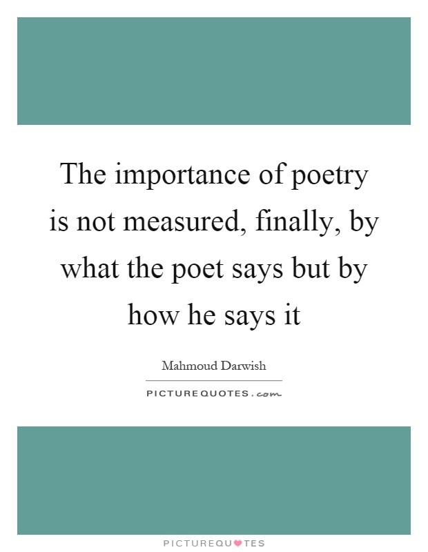 Why Is Poetry Important to Our World Today?