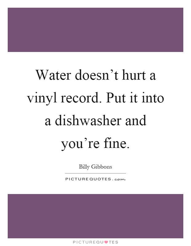 Water doesn't hurt a vinyl record. Put it into a dishwasher and you're fine Picture Quote #1