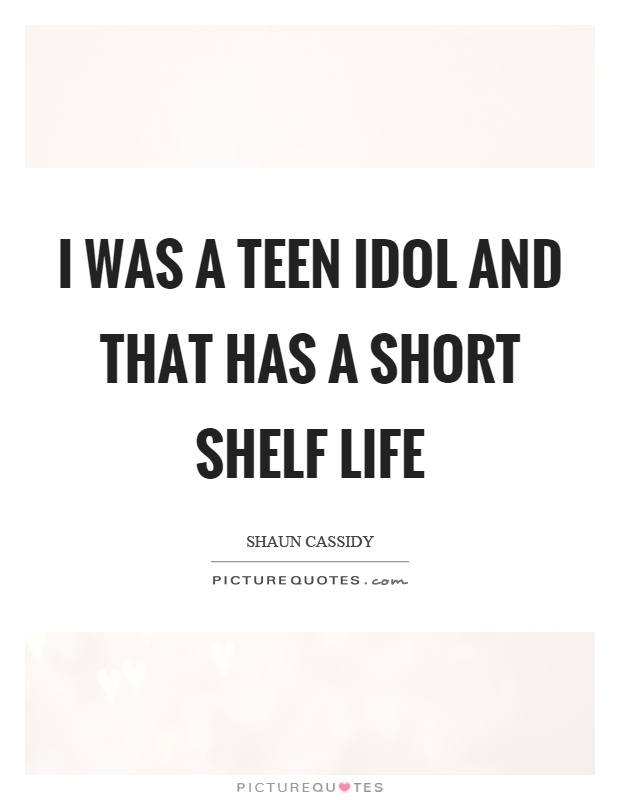 I was a teen idol and that has a short shelf life Picture Quote #1