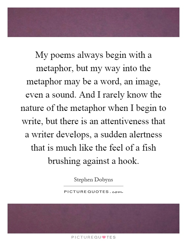 My poems always begin with a metaphor, but my way into the metaphor may be a word, an image, even a sound. And I rarely know the nature of the metaphor when I begin to write, but there is an attentiveness that a writer develops, a sudden alertness that is much like the feel of a fish brushing against a hook Picture Quote #1