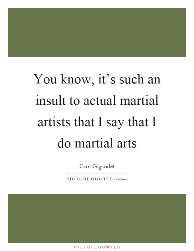 You know, it's such an insult to actual martial artists that I say that I do martial arts Picture Quote #1
