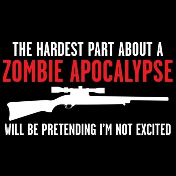 The hardest part about a zombie apocalypse will be pretending I'm not excited Picture Quote #1