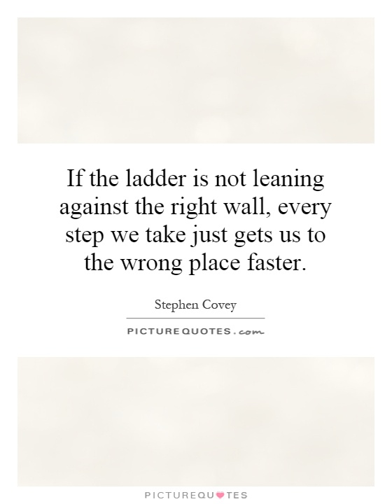 If the ladder is not leaning against the right wall, every step we take just gets us to the wrong place faster. Picture Quote #1