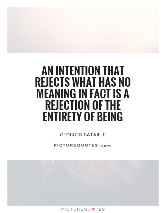 An intention that rejects what has no meaning in fact is a rejection of the entirety of being Picture Quote #1