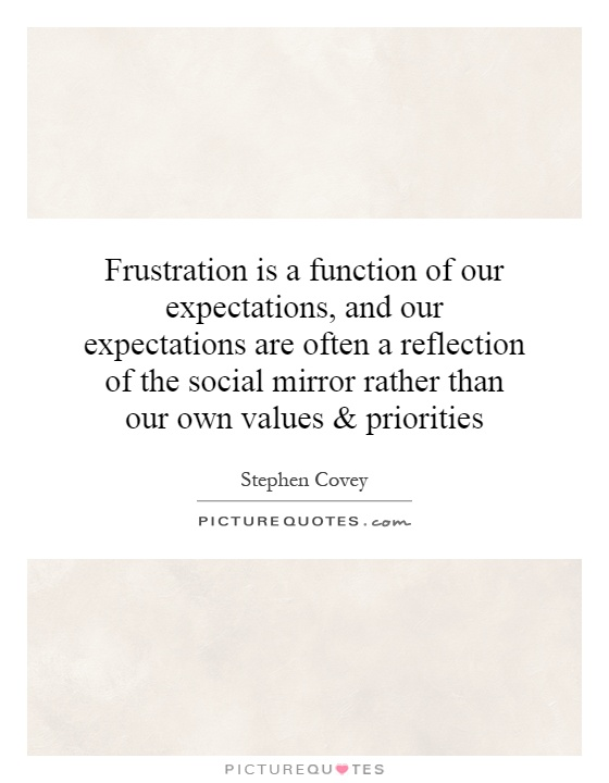 Frustration is a function of our expectations, and our expectations are often a reflection of the social mirror rather than our own values and priorities Picture Quote #1