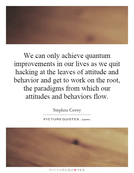 We can only achieve quantum improvements in our lives as we quit hacking at the leaves of attitude and behavior and get to work on the root, the paradigms from which our attitudes and behaviors flow Picture Quote #1