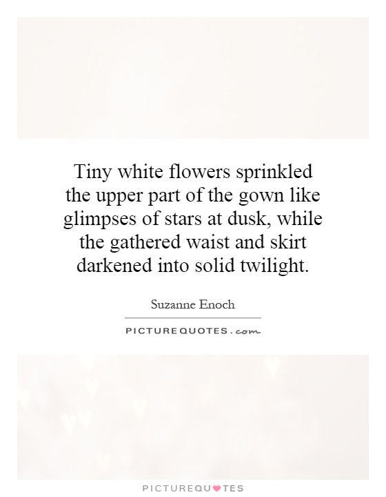 Tiny white flowers sprinkled the upper part of the gown like glimpses of stars at dusk, while the gathered waist and skirt darkened into solid twilight Picture Quote #1