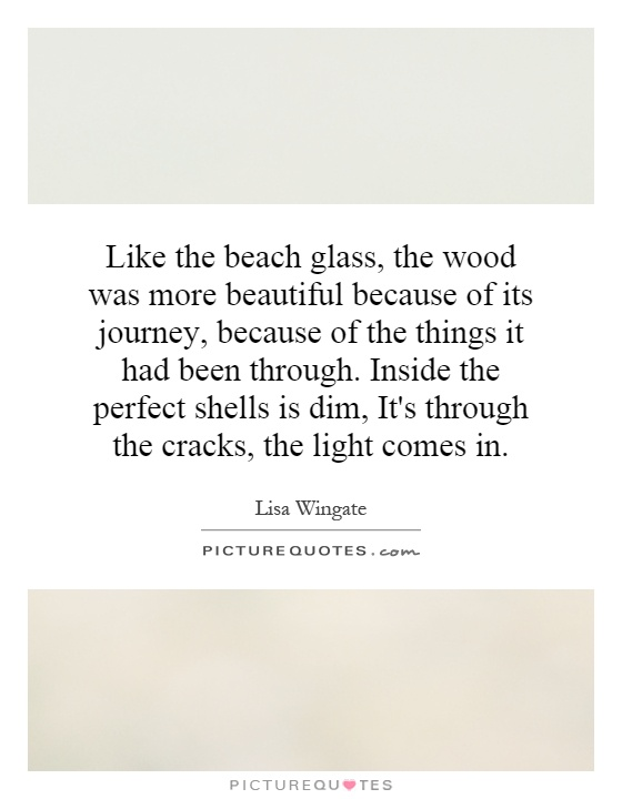 Like the beach glass, the wood was more beautiful because of its journey, because of the things it had been through. Inside the perfect shells is dim, It's through the cracks, the light comes in Picture Quote #1