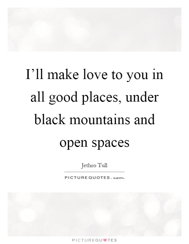 I'll make love to you in all good places, under black mountains and open spaces Picture Quote #1