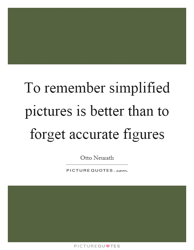 To remember simplified pictures is better than to forget accurate figures Picture Quote #1