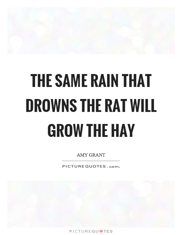 The same rain that drowns the rat will grow the hay Picture Quote #1