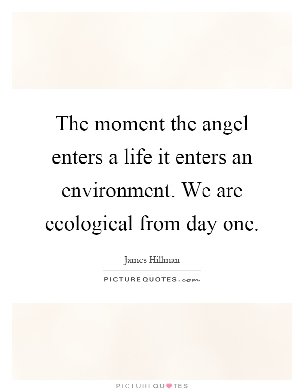 The moment the angel enters a life it enters an environment. We are ecological from day one Picture Quote #1