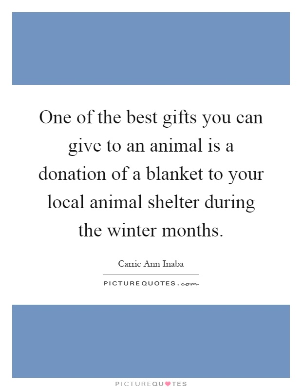 One of the best gifts you can give to an animal is a donation of a blanket to your local animal shelter during the winter months Picture Quote #1
