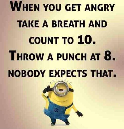 When you get angry take a breath and count to 10. Throw a punch at 8. Nobody expects that Picture Quote #1